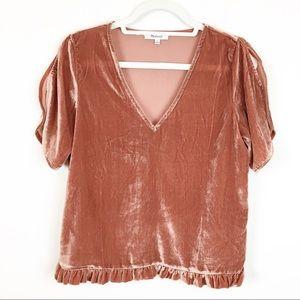 Madewell Pink Mauve Velvet Short Sleeve Top